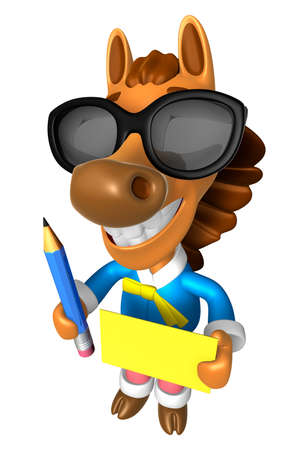 quartet: Wear sunglasses 3D Horse Mascot hand is holding a Yellow paper and Pencil. 3D Animal Character Design Series. Stock Photo