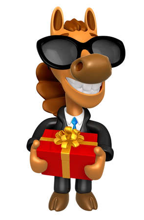 quartet: Wear sunglasses 3D Horse mascot the hand is holding a Big Gift Box. 3D Animal Character Design Series.