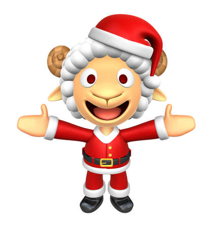 welcomed: 3D Santa Sheep mascot has been welcomed with both hands. 3D Animal Character Design Series.