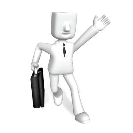 attach?: one 3d business man running with a attach case