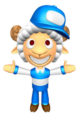 welcomed: 3D Service Sheep Mascot has been welcomed with both hands. 3D Animal Character Design Series.