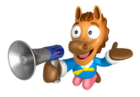 quartet: 3D Horse Mascot the right hand guides and left hand is holding a loudspeaker. 3D Animal Character Design Series. Stock Photo