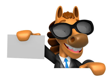 the quartet: 3D Horse Mascot hand is holding a board and business cards. 3D Animal Character Design Series. Stock Photo