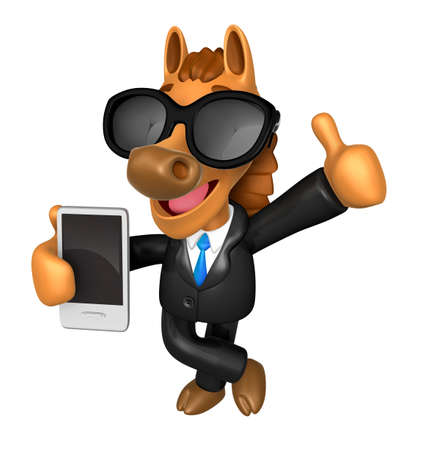 quartet: Wear sunglasses 3D Horse Mascot the right hand best gesture and left hand is holding a Smart Phone. 3D Animal Character Design Series. Stock Photo