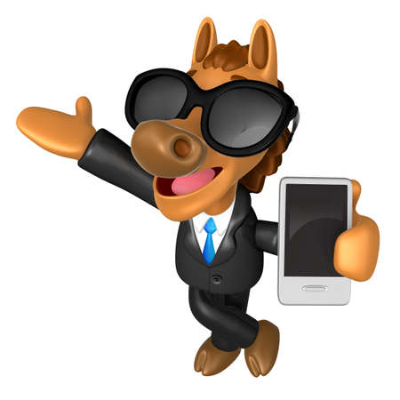 usher: Wear sunglasses 3D Horse mascot the left hand guides and the right hand is holding a Smart Phone. 3D Animal Character Design Series.