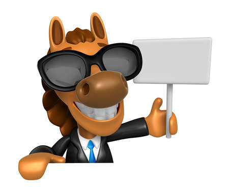 publicize: Wear sunglasses 3D Horse mascot hand is holding a picket and board. 3D Animal Character Design Series. Stock Photo