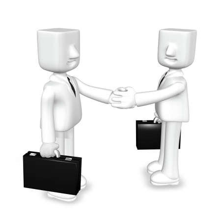 successful campaign: two 3d business mans shaking their hands Stock Photo