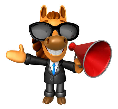 quartet: Wear sunglasses 3D Horse Mascot the left hand guides and right hand is holding a loudspeaker. 3D Animal Character Design Series.