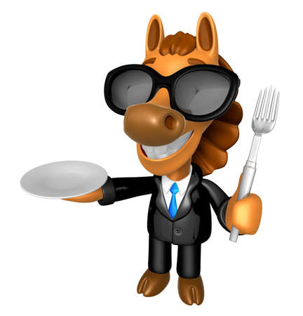 quartet: Wear sunglasses 3D Horse Mascot hand is holding a Fork and Plate. 3D Animal Character Design Series.