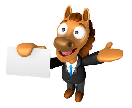 publicize: 3D Horse mascot the right hand guides and the left hand is holding a business cards. 3D Animal Character Design Series.