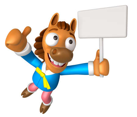 quartet: 3D Horse Mascot the right hand best gesture and left hand is holding a picket. 3D Animal Character Design Series.