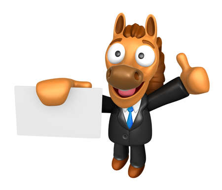 left hand: 3D Horse Mascot the right hand best gesture and left hand is holding a business cards. 3D Animal Character Design Series.