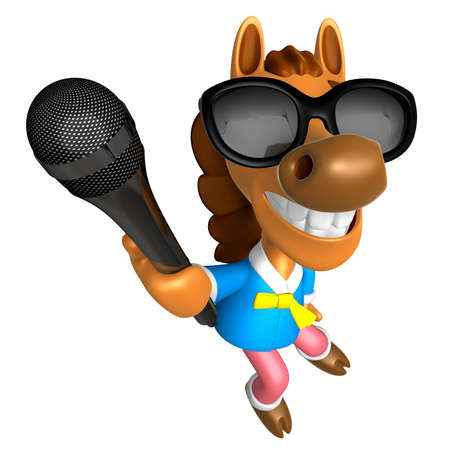 telecast: Wear sunglasses 3D Horse character point a microphone. 3D Animal Character Design Series. Stock Photo