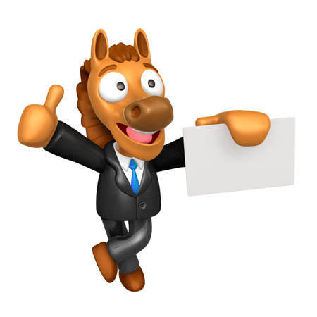 publicize: 3D Horse Mascot the left hand best gesture and right hand is holding a business cards. 3D Animal Character Design Series.