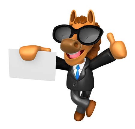 publicize: Wear sunglasses 3D Horse Mascot the right hand best gesture and left hand is holding a business cards. 3D Animal Character Design Series.