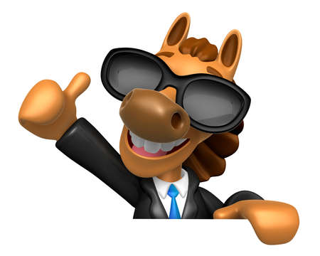 left hand: Wear sunglasses 3D Horse Mascot the left hand best gesture and right hand is holding a briefcase. 3D Animal Character Design Series. Stock Photo