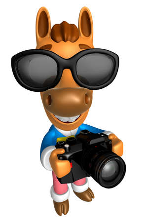 quartet: 3D Horse character to shoot the Big Camera toward the Right. 3D Animal Character Design Series. Stock Photo