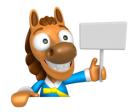 publicize: 3D Horse mascot hand is holding a picket and board. 3D Animal Character Design Series.
