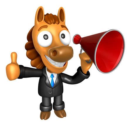 left hand: 3D Horse Mascot the left hand best gesture and right hand is holding a laptop. 3D Animal Character Design Series. Stock Photo