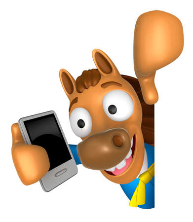 usher: 3D Horse Mascot hand is holding a Smart Phone and Big advert board. 3D Animal Character Design Series.