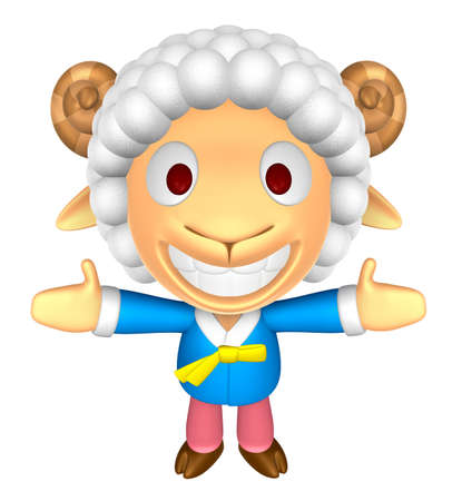 welcomed: 3D Sheep Mascot has been welcomed with both hands. 3D Animal Character Design Series.