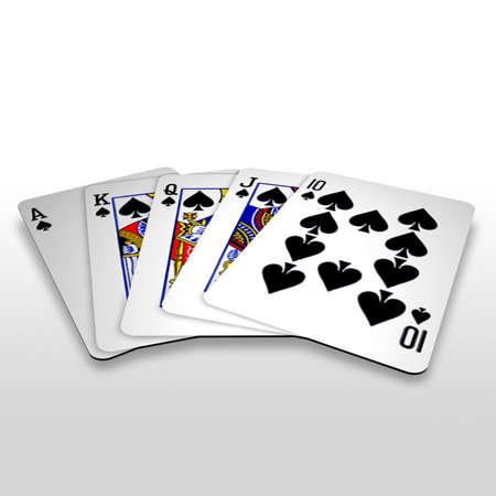 straight flush: 3d royal straight flush playing cards Stock Photo