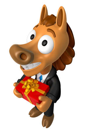 quartet: 3D Horse mascot the hand is holding a Big Gift Box. 3D Animal Character Design Series.