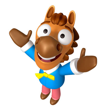 quartet: 3D Horse mascot has been welcomed with both hands. 3D Animal Character Design Series.