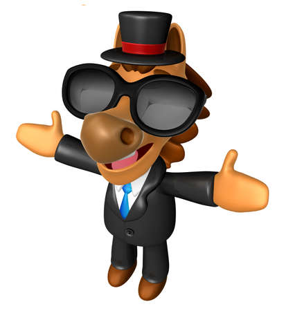 welcomed: Wear sunglasses 3D Horse mascot has been welcomed with both hands. 3D Animal Character Design Series. Stock Photo