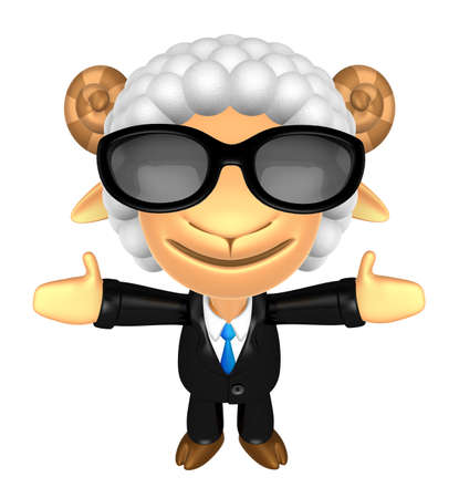 welcomed: 3D Business Sheep mascot has been welcomed with both hands. 3D Animal Character Design Series. Stock Photo