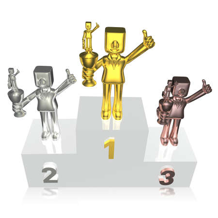 victory stand: three 3d business man standing at victory stand with trophy