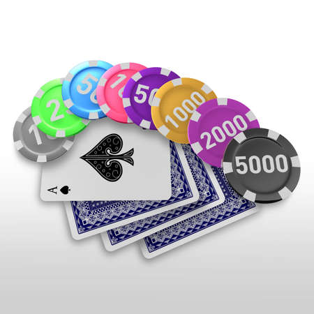 token: 3d casino token and playing cards