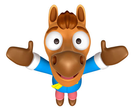 welcomed: 3D Horse mascot has been welcomed with both hands. 3D Animal Character Design Series.