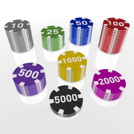 token: a number of 3d casino token arranged in color order Stock Photo