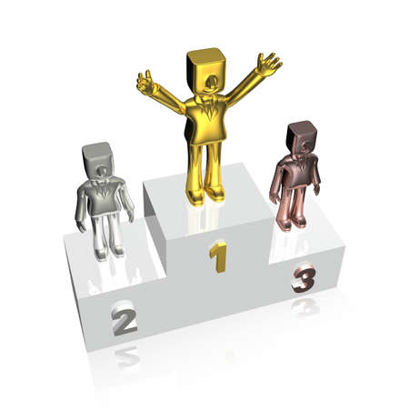 victory stand: three 3d business man standing at victory stand Stock Photo