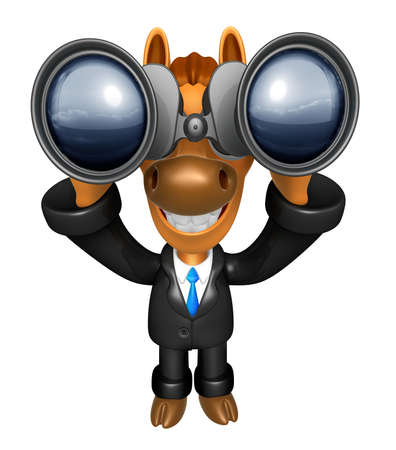 quartet: 3D Horse mascot in binoculars watching. 3D Animal Character Design Series.