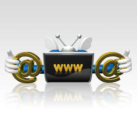 telecast: 3d television man accessing on the internet with www symbol Stock Photo