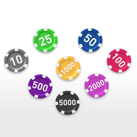 token: a number of 3d casino token reposed in color order