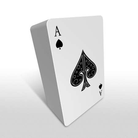 ace: 3d spade ace playing card bundle standing