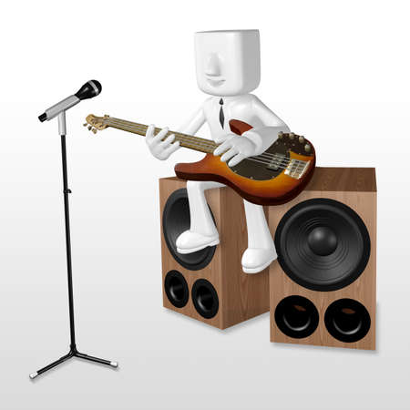 mike: 3d business man playing the guitar on the woofer with mike Stock Photo