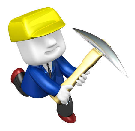 exploit: 3d man miner with hardhat and pickaxe on white background. 3D Square Man Series. Stock Photo