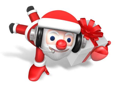 stunt: 3d santa doing jumping stunt with white gift box