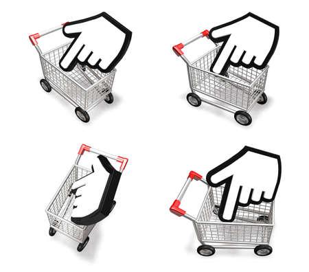 3d cursor: 3d shopping cart and big cursor range four set