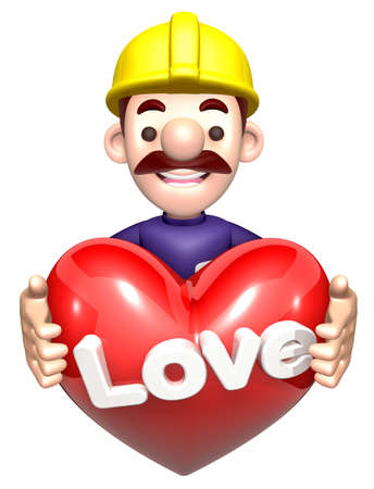 heart hard work: The men holding hearts. 3D construction works Character Stock Photo