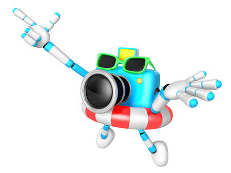 rubber ring: Sky Biue Camera Character jumping in rubber ring. Create 3D Camera Robot Series. Stock Photo