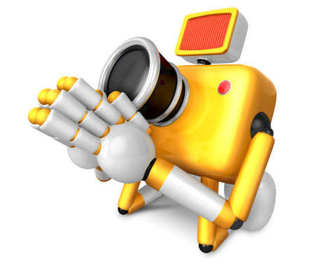 bowing: Yellow Camera Character kneel in prayer. Create 3D Camera Robot Series. Stock Photo