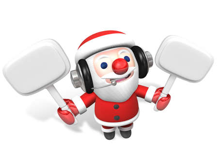 people looking up: 3d santa holding two white sign board with headphone