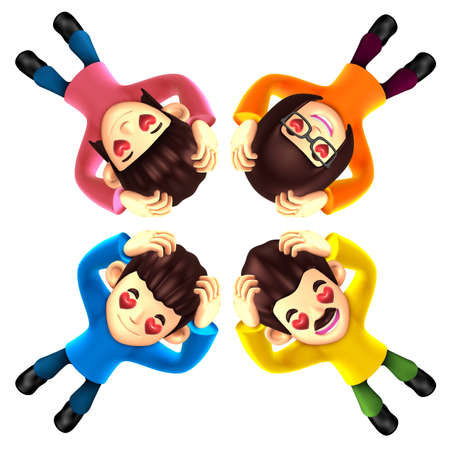 expressed: Four happy family lying down. It is expressed in gestures of love. 3D Family Character Design Stock Photo