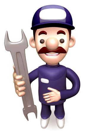 grasp: Service man Grasp a Spanner. 3D Service Man Character