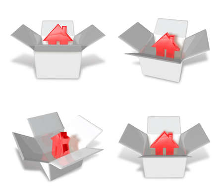 package deliverer: 3D House icon inside a box. 3D Icon Design Series.
